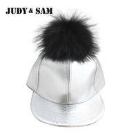 2016 Spring Fashion Real Black Raccoon Fur Pompoms Silver Baseball Cap Snapback Hat Fitted Caps For