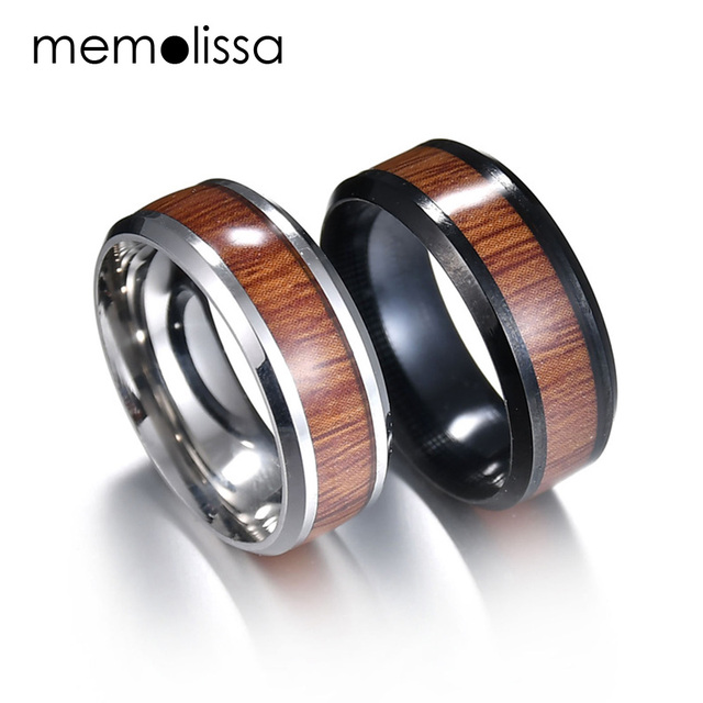 Memolissa 316l Stainless Steel Finger Rings Durable Vintage Anium 8mm Ring Wood Grain