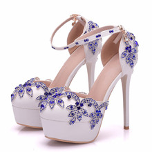 New Platform Pumps Women Sandals Fashion Sexy Thin High Heels Buckle Rhinestone Shoes Women 2018 Wedding Shoes XY-A0093 new arrival luxury princess slipper ab color rhinestone wedding shoes high heels platform shoes women s wedding shoes