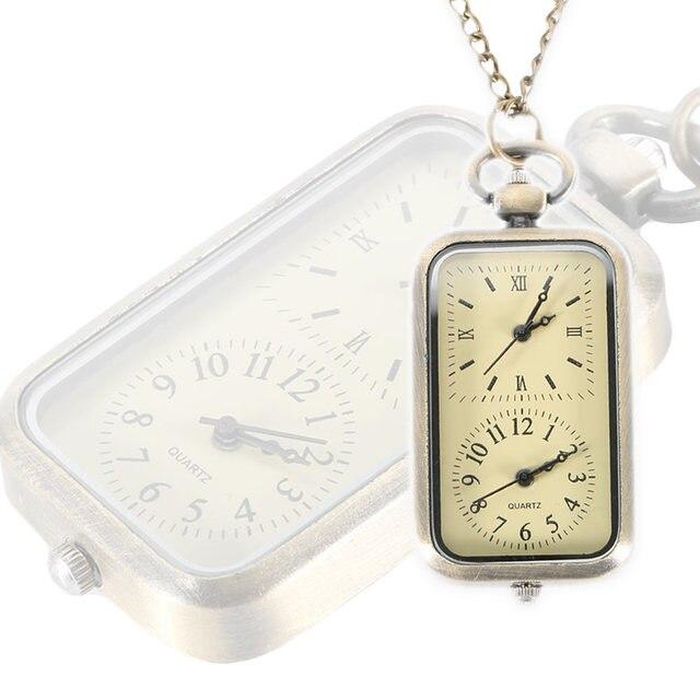 Vintage Quartz Steampunk Pocket Watch Dual Double Time Zone Movement Necklace Ch