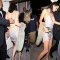 Сексуальная Спинки Блестками Мини Dress Кендалл Дженнер 21-ая Вечеринка Dress V Металл Холтер Выдалбливают Рукавов Плотно Пакет Бедра Dress