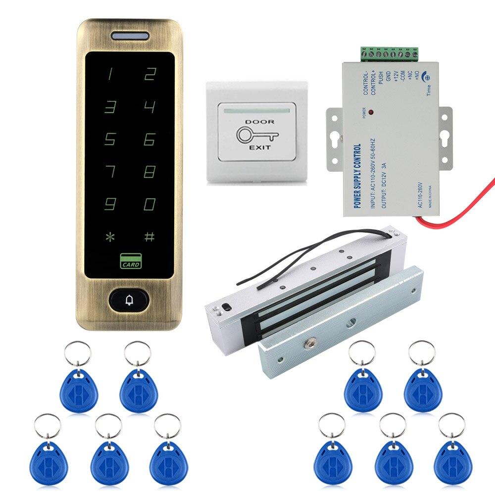 MOUNTAINONE SY5300 A Waterproof Metal Touch 8000 Users Door RFID Access Control Keypad Case Reader NO Electric Strike Door Lock