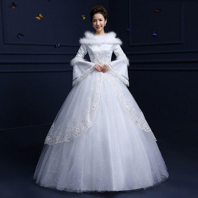 2017 new winter long sleeved Cotton wedding bride fine cold shoulder ...