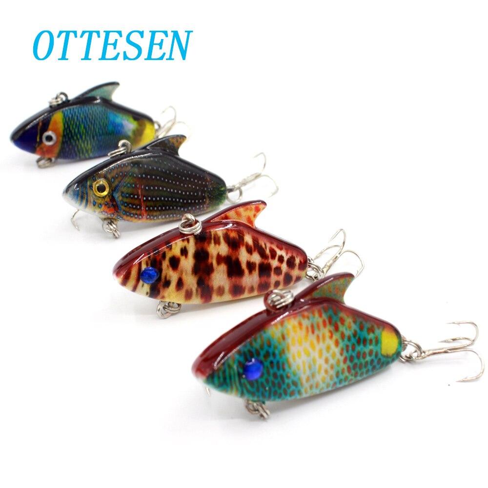 OTTESEN 4pcs/lot 5.5cm 7.9g vibration vib fishing lure colorful winter deep sinking bass hard lure wobblers 3D eyes 8# hooks