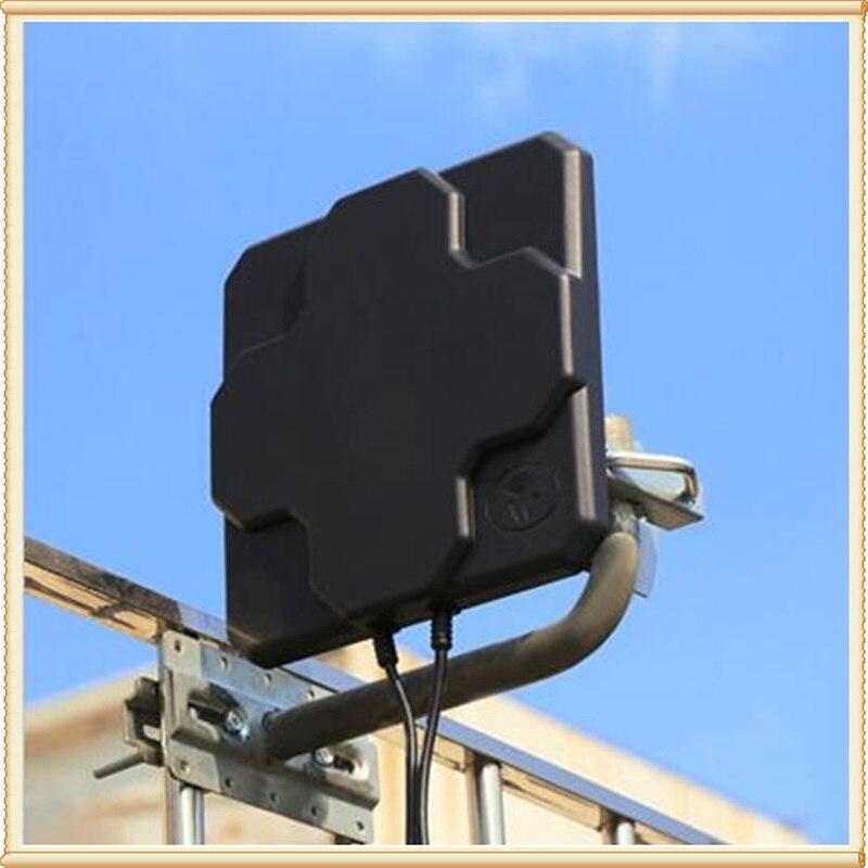2 * 22dBi extérieur 4G LTE MIMO antenne, LTE double polarisation panneau antenne n-male connecteur noir 10 M câble