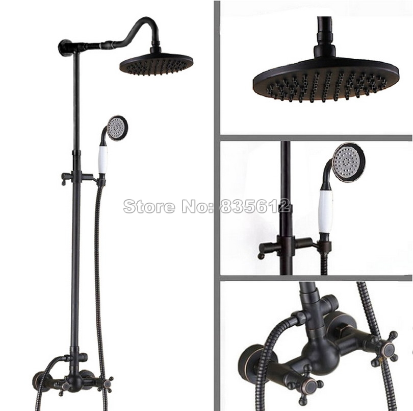 Bathroom Black Oil Rubbed Bronze Rain Shower Faucet Set with Dual Handles Mixer Taps + Handheld Shower Wall Mounted Wrs706