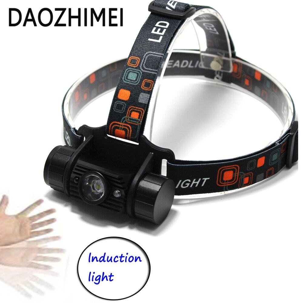 2018 new 3W Mini IR Sensor Headlight Induction Usb Rechargeable Tactical Lantern XM-L 2 Headlamp 18650 camping Lantern