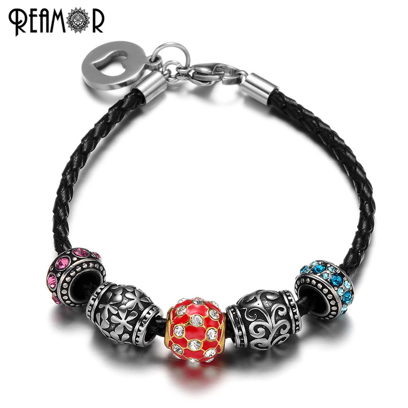 REAMOR Pan Style 316l Stainless Steel Floating Crytal Beads Black Braided Leather Barrel Bead Red Bracelet Charm Fit Jewelry
