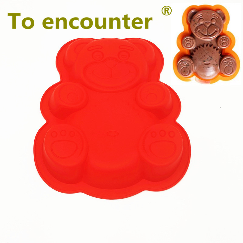 To encounter Hot Sale Lovely Red Bear Cake Mold 3D Silicone Cake Mold Baking Tools For Bakeware Free Shipping