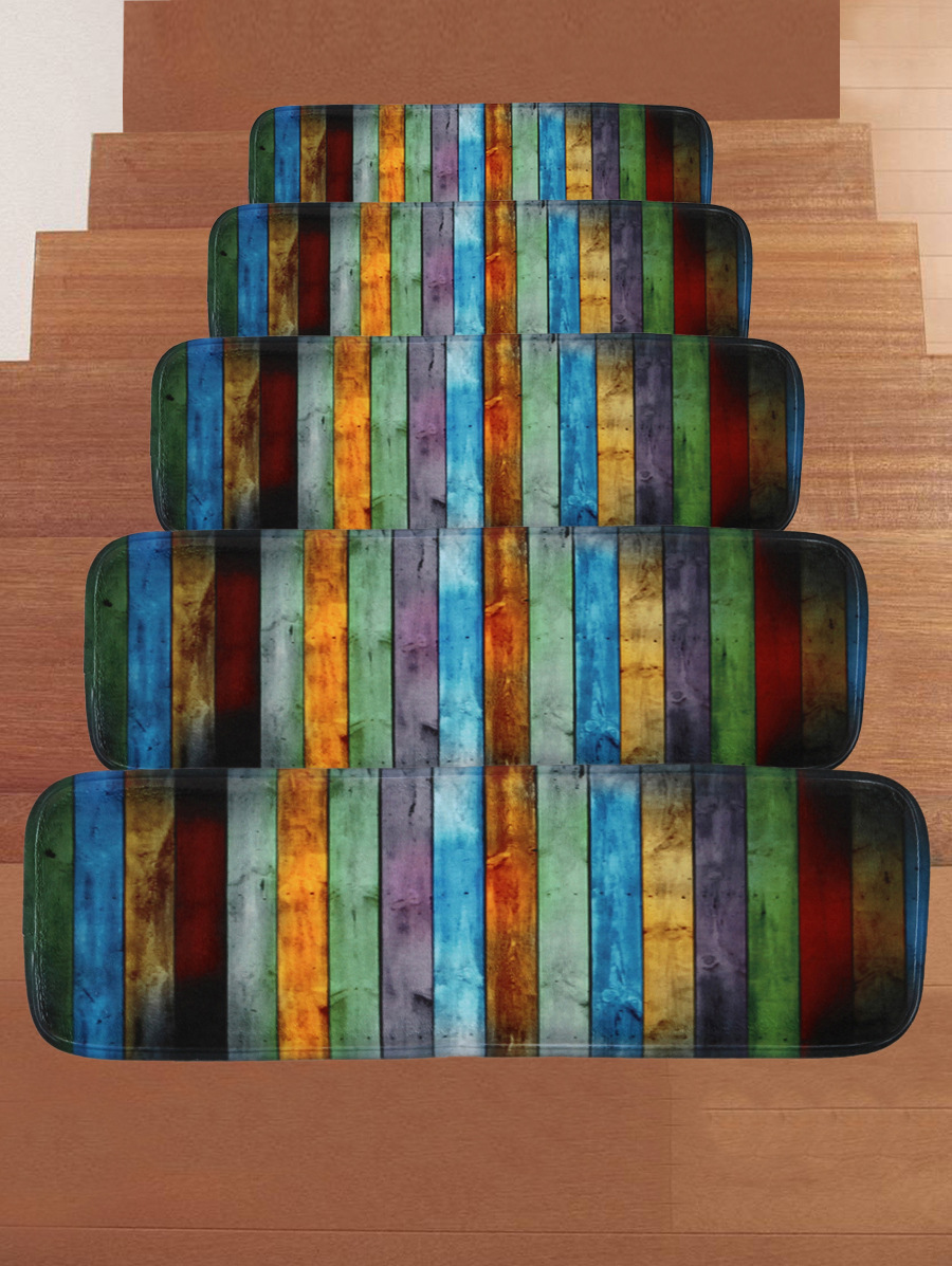 5 PCS/Set Washable Non slip Stair Treads Stair Carpet Stripe Color Vintage Rugs Dirt Proof Backing Stair Carpets for Home Office