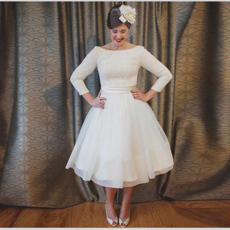 4ab59a4887a Куртис Короткие платье Vestido De Noiva три четверти рукав Для женщин Чай-свадебные  платья плюс