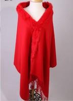 Free Shipping Red Winter Fashion Ladies' 100% Wool Cashmere Rabbit Fur Shawl Scarf Thick Warm Wrap SY 4
