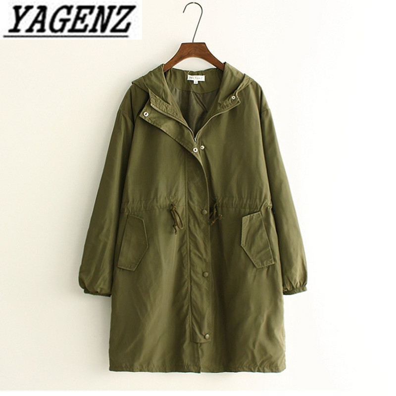 Women's windbreaker 2018 Fashion Casual Loose 200 pounds Medium-long Solid color Hooded Lady   Trench   Coat Spring/Autumn Clothing