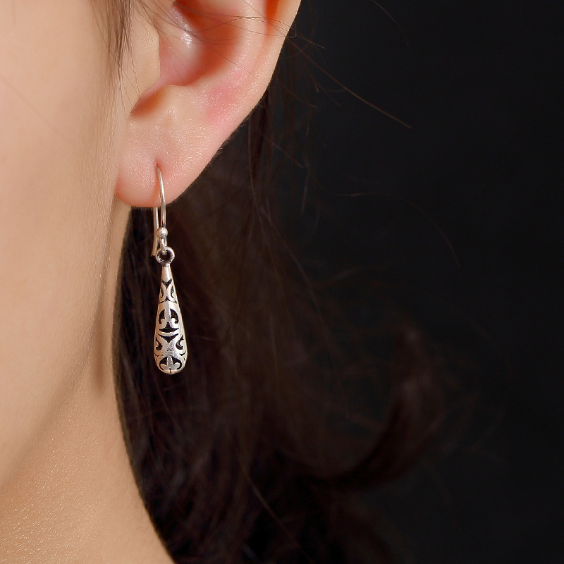 New Arrival Top Hollow Water Drop Earrings For Lady,925 Sterling Silver Vintage Ethnic Earrings For Wedding Gite Free Shipping