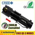 high-quality Mini Black CREE 2000LM Waterproof LED Flashlight 3 Modes Zoomable LED Torch penlight free shipping
