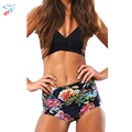 2016 New Women Sexy Black Wrap Top Floral Print High Waist Bathing Suit Bandage Tie Lacing Swimsuit