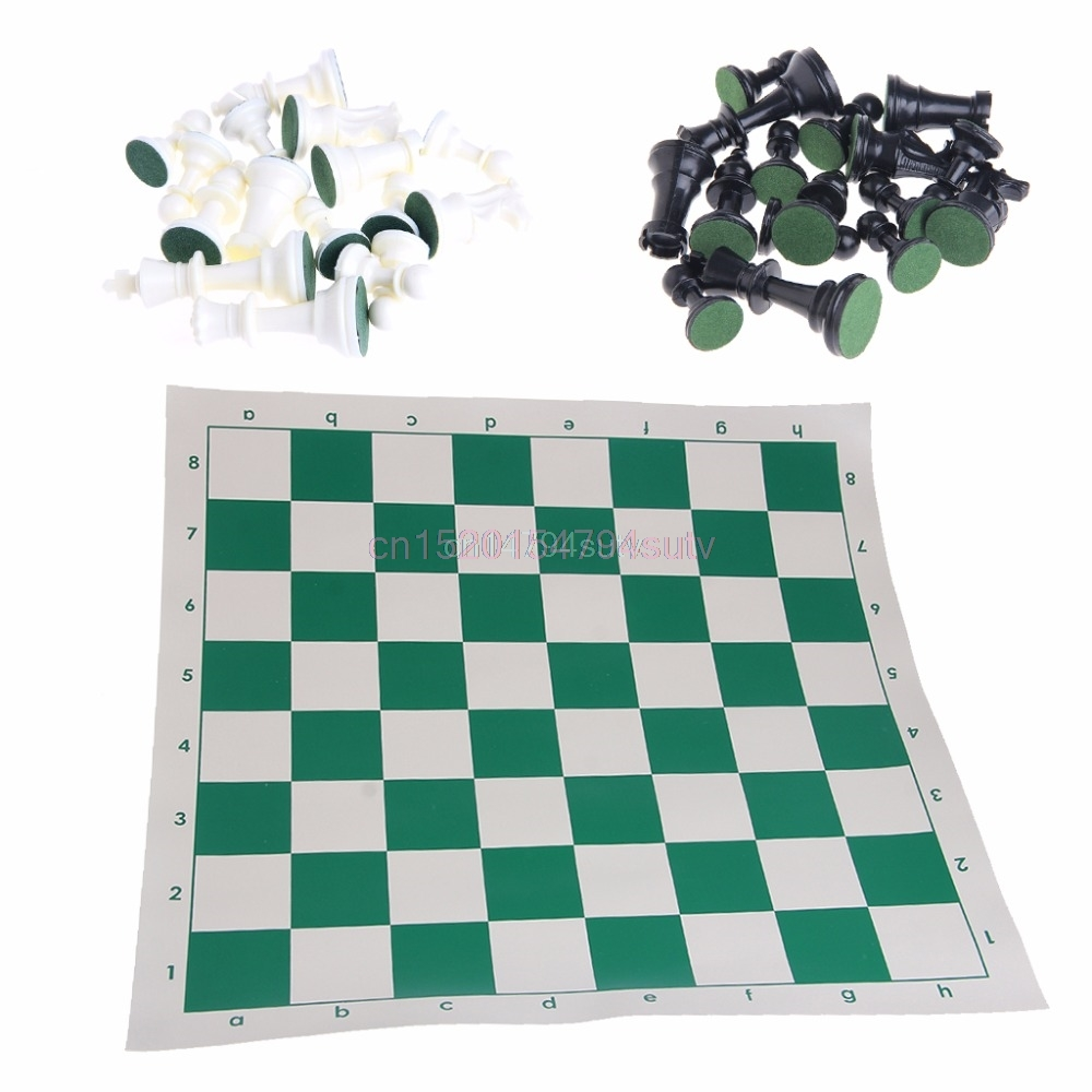 International 32 Pieces Chess Game Set Plastic With Chessboard Chessmen Kid Gift #H055#