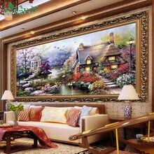 Kruissteek Handwerken lake schilderij