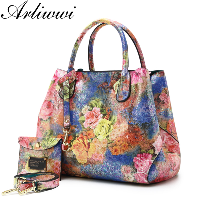 Arliwwi Brand Luxury Shiny Rainbow Color Floral Designer Tote Bags For Women High Quality PU Leather Female Handbags  tote bag
