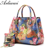 Arliwwi Brand Luxury Shiny Rainbow Color Floral Designer Tote Bags For Women High Quality PU Leather Female Handbags