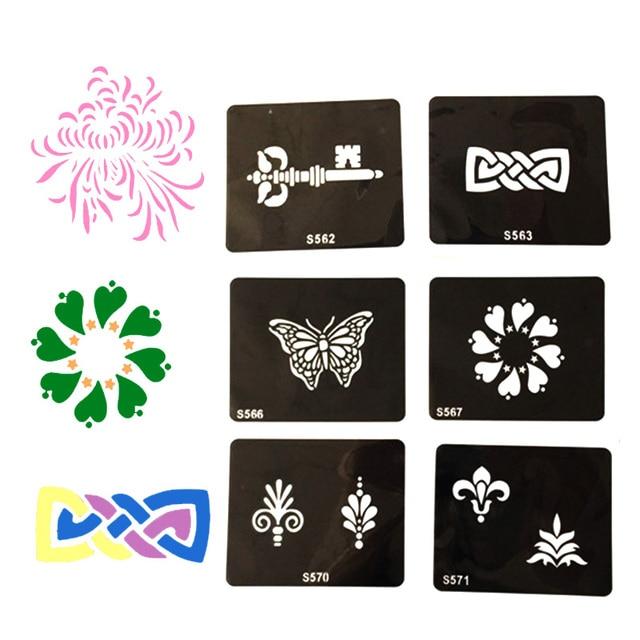 Glitter Tattoo Stencil Woman Female Kids Drawing Templates Flower Choker Ankle Bracelet Airbrush Stencils Jpg