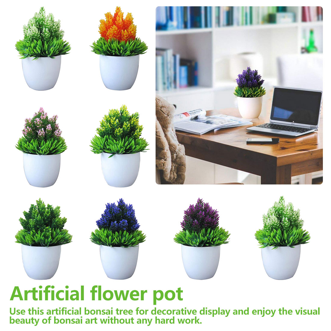 Desktop Ornament Artificial Flower Fake Potted Plastic Plant Simulation Bonsai