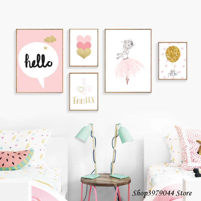 Baby Room Decor Wall Art Paintings Posters And Prints Decoration Cartoon Pink