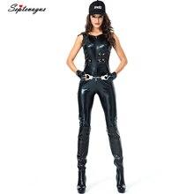 Косплей Женский сексуальный кожаный полицейский костюм для взрослых на Хеллоуин полицейский женский костюм комбинезон traje Хэллоуин; difrases mujer