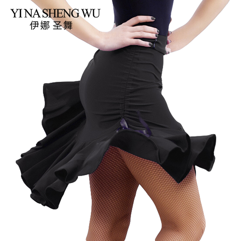 Sexy Latin Dance Skirt Women Square Dance Black Body Skirt Drawstring With Safety Pants Latin Rumba Salsa Dance Practice Dress