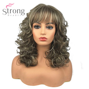 Image 2 - StrongBeauty Womens Synthetic Wigs Long Curly Hair Beige Blonde Mix Capless Natural Wigs