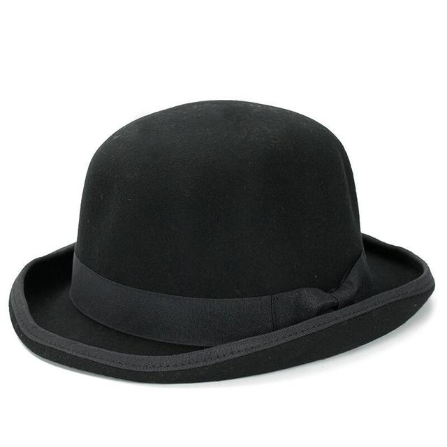 39b04f71687 Paris fashion Men Wool Jazz Hat Dome Floppy Brim Fedora Hat Black Grey  Vintage Dress Casual