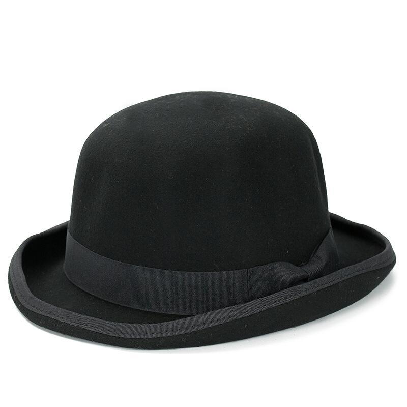 Paris fashion Men Wool Jazz Hat Dome Floppy Brim <font><b>Fedora</b></font> Hat Black Grey Vintage Dress Casual Male Winter Warm Bowler Hat Cap
