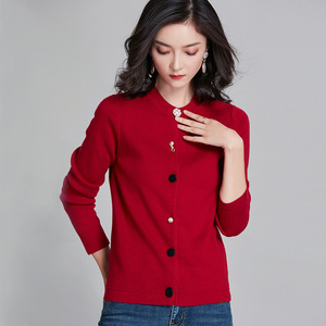 Image 3 - 2018 New Arrival Women Chic Cardigans Pearl Decoration Buttons Knitted Cotton Cashmere Solid Color Wild Slim Jacket kz353