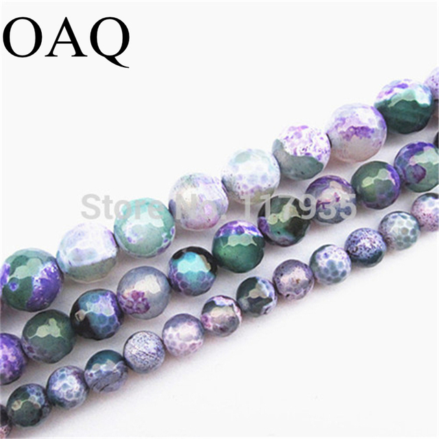 Wholesale 8-12mm Faceted Onyx Natural Stone Beads Purple Green Fire Carnelian Gems Beading Round Loose Beads For Jewelry Making