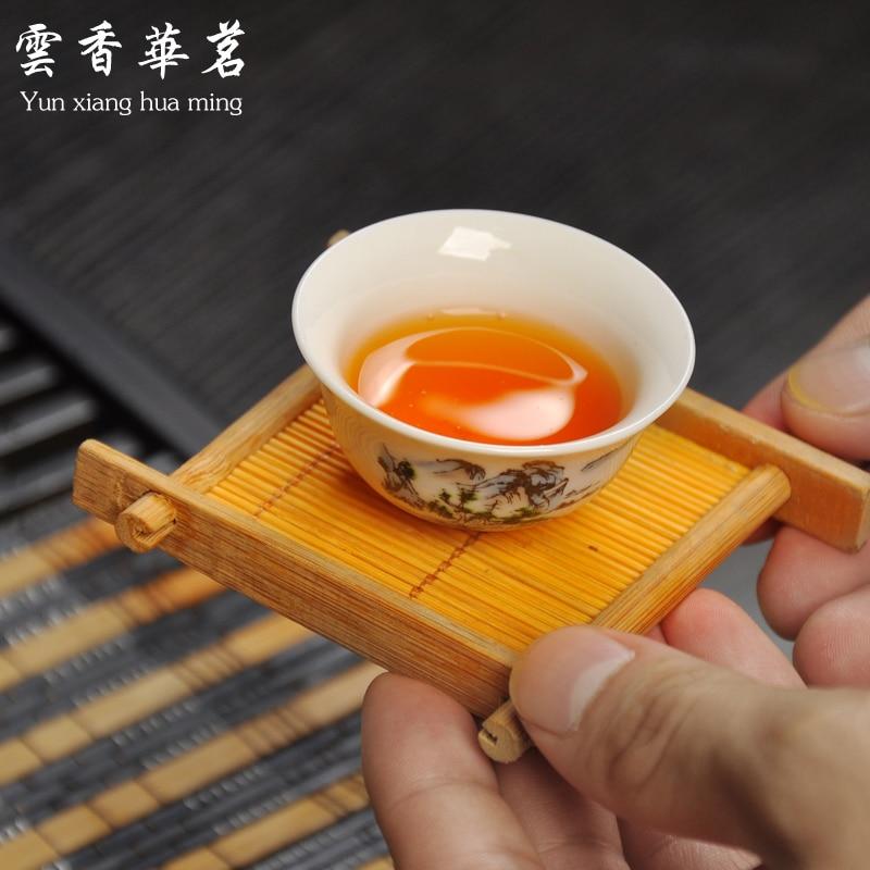 Ceramic porcelain white porcelain tea set special set of Kung Fu tea ceremony wood tray tea table - 5