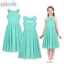 Iiniim Kız Kostümleri Şifon Elbise Çiçek Şekilli Rhinestone Halter Boyun Çocuklar Genç Düğün Parti Vestidos Prenses Elbise
