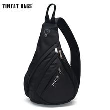 TINYAT Men Bag Men Shoulder Sling Bag pack USB Waterproof Messenger Crossbody Bag Black Travel chest bag for ipad T509