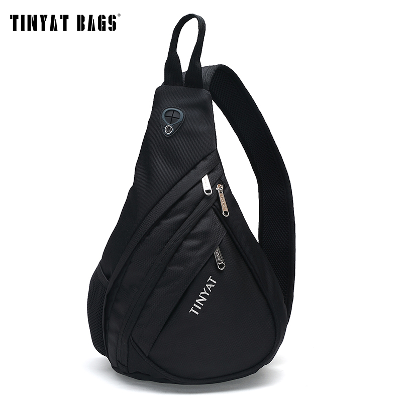 TINYAT Men Functional Cool Style Chest Bag Pack Morden Style Outside Large Capacity Messenger bag T509 Black