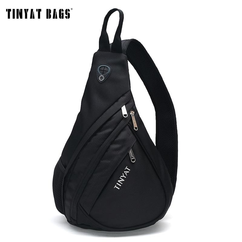TINYAT Men Bag Men Shoulder Sling Bag Pack USB Waterproof Messenger Crossbody Bag Black Travel Women Chest Bag For Ipad T509