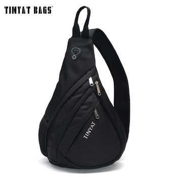 TINYAT Men Bag Men Shoulder Sling Bag pack USB Waterproof Messenger Crossbody Bag Black Travel women chest bag for ipad T509 - DISCOUNT ITEM  51% OFF All Category