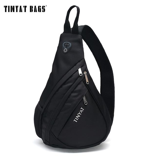 TINYAT Men Functional multilayer Bag Cool Casual Chest Bag Pack Morden Outside Large Capacity Messenger bag Pack T509 Black