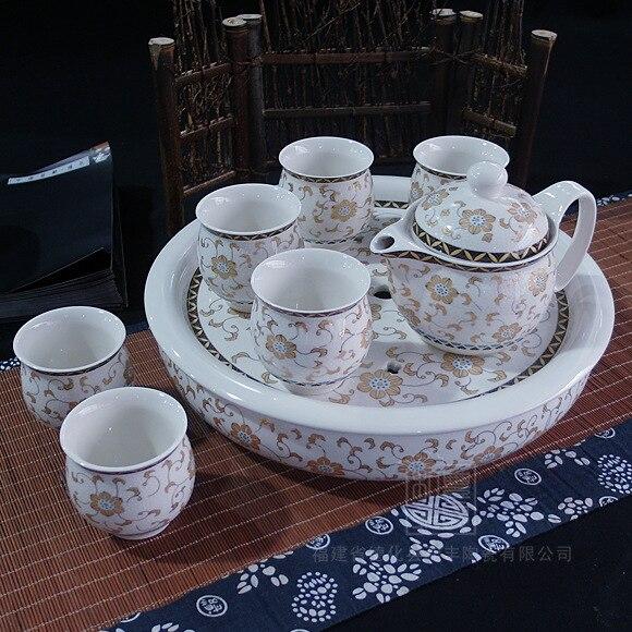 13 inch large insulated double <font><b>cup</b></font> ceramic tea <font><b>set</b></font> tea gold <font><b>floral</b></font> <font><b>teapot</b></font> blue and white porcelain tea