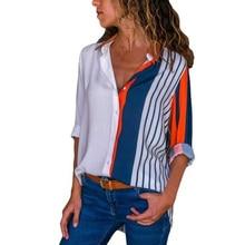 2019 women's shirt long sleeve single-breasted striped printed shirt free shipping