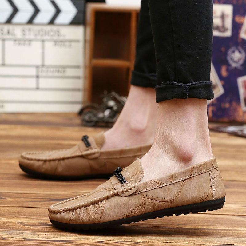 Glissement Plat En Véritable kaki Foncé Matures Casual Pour Chaussures Autumm Printemps Cuir Classics Sur gris Mocassins Conduite Hommes Noir 0gwSfq8wzx