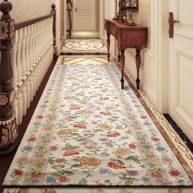 Europäischen vintage stil lange größe beige floral teppich für treppenhaus, flur teppich, Amerikanischen stil zu hause dekoration läufer teppich-in Teppich aus Heim und Garten bei  Gruppe 1