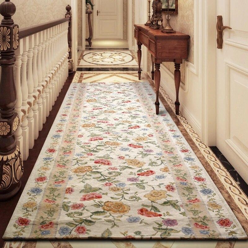 tapis long beige floral de style vintage europeen pour escaliers tapis de couloir tapis de course decoratif de style americain pour la maison