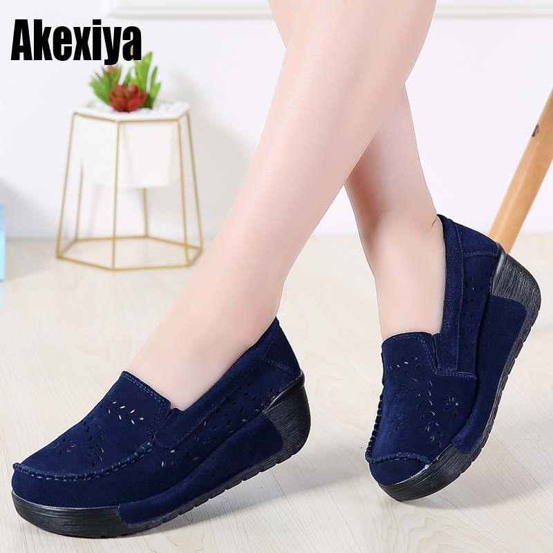 Spring Women Flat Platform Loafers Shoes Ladies   Suede     Leather   Hollow Casual Shoes Slip On Moccasins Creepers d960