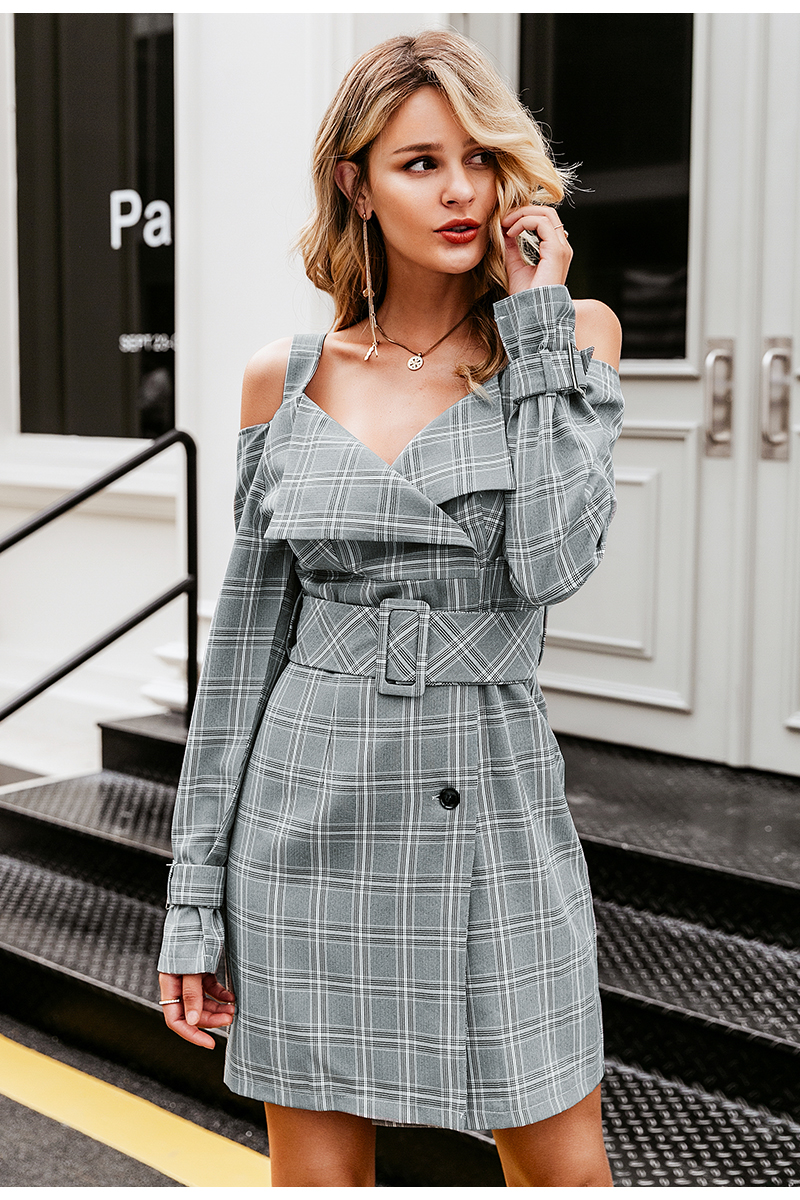 Simplee V-neck plaid sash belt women dress Spaghetti strap button office ladies dress Autumn winter female short party dress 5