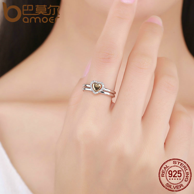 9543b5390 ... rings things i love pandora heart ring bfcb3 909c0; inexpensive bamoer 100  925 sterling silver heart of gold puzzle ring stack female finger ring for