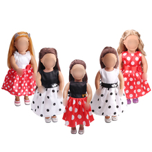 American 18 inch Girls clothes doll Princess polka dot evening dress accessories fit 43 cm baby c42